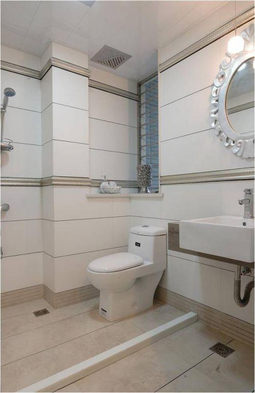 现代简约三居室卫生间背景墙装修效果图