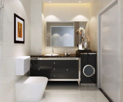 现代简约三居室卫生间灯具装修效果图
