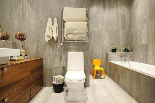 典雅现代风格卫生间米色地板砖装修图