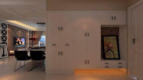 现代简约三居室玄关鞋柜装修效果图