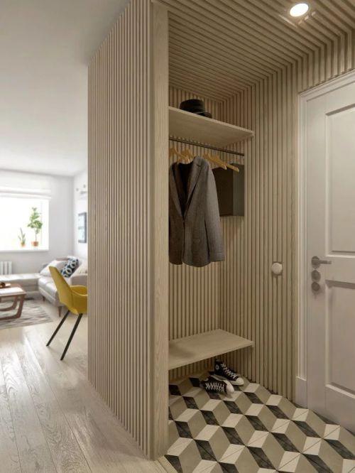 个性现代风格入室玄关原木色装修图片