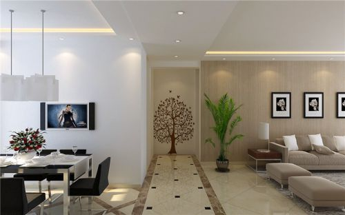 现代简约三居室玄关壁纸装修图片