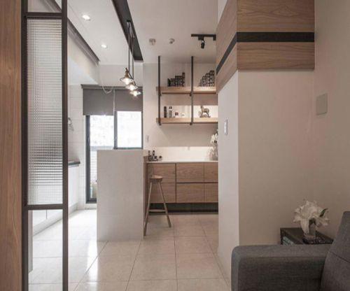 现代简约二居室玄关屏风装修效果图