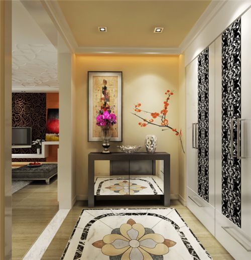 现代简约三居室玄关壁纸装修效果图欣赏