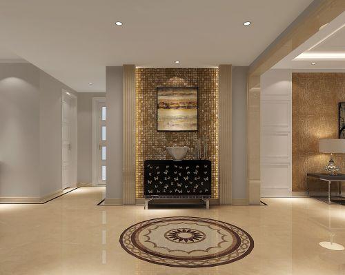 现代简约三居室玄关背景墙装修效果图