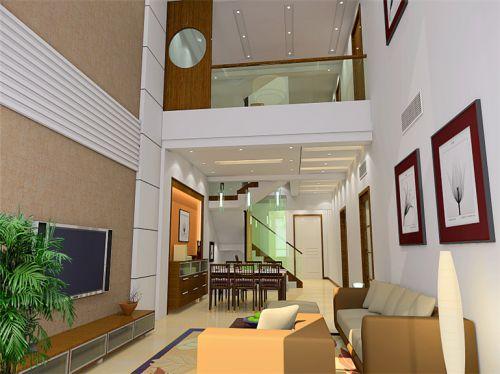 现代简约四居室玄关灯具装修图片