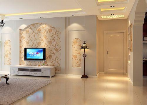 现代简约二居室玄关壁纸装修图片