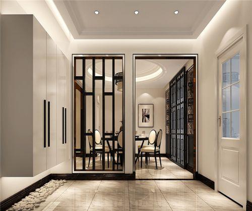 现代简约三居室玄关屏风装修效果图