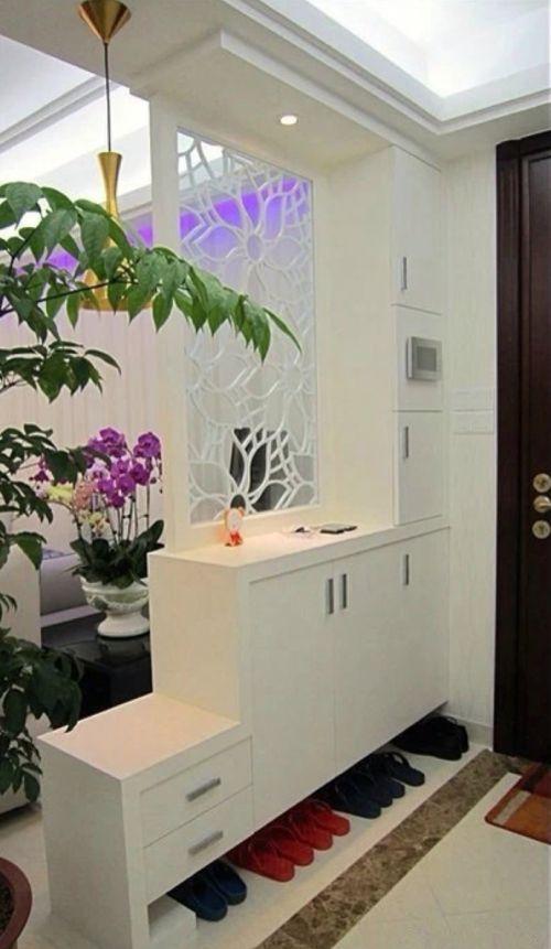 现代简约89平两居白色玄关鞋柜装修效果图