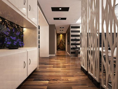 高贵黑白灰现代感十足三居室玄关装修效果图