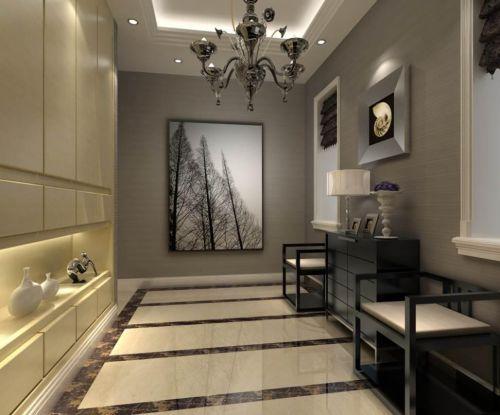 现代简约风390平四居玄关走廊设计效果图