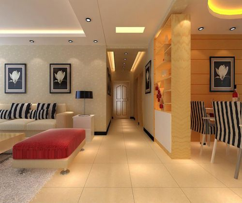 133平现代简约四居走廊玄关设计图