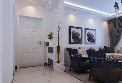 现代风格二居室玄关灰色鞋柜装修图片