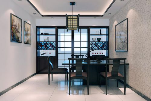 现代质感中式风格家居餐厅酒柜组合柜装修
