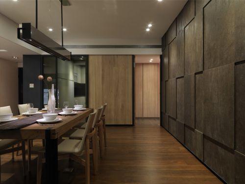 质感轻奢现代风格餐厅背景墙装修实景图