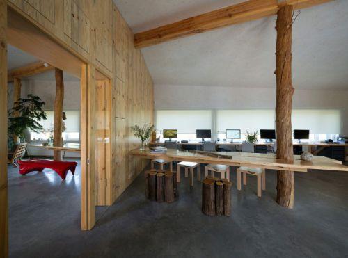 现代风格质朴温润原木餐厅效果图