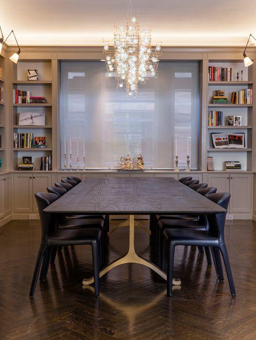 时尚酷黑现代风格餐厅餐桌装修设计