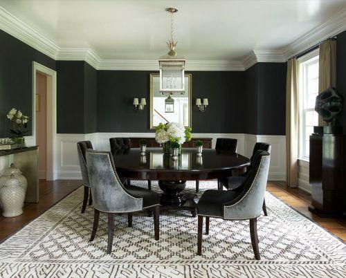 黑色古典四居室餐厅装修效果图