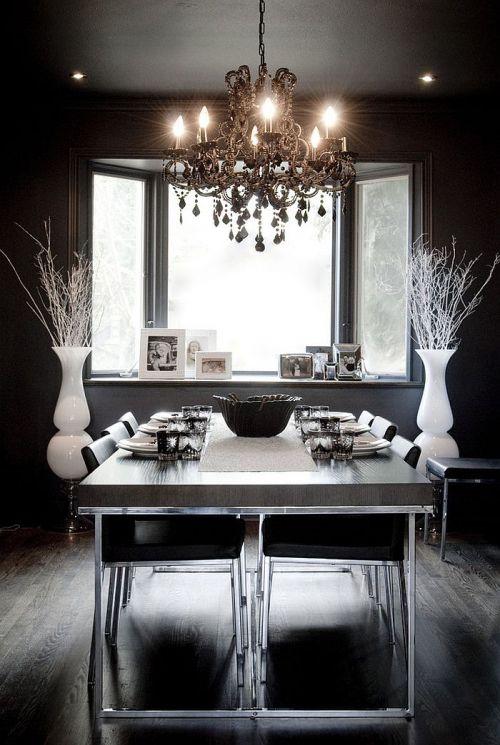 现代风格黑色硬朗基调餐厅装修效果图