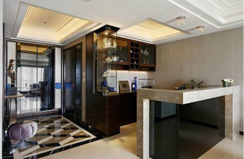 现代简约风格三居室餐厅黑色酒柜效果图