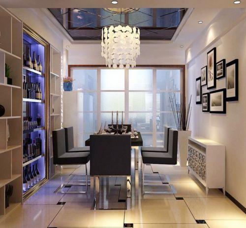 现代简约风格115平米餐厅酒柜装修效果图