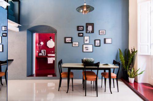 简明蓝色现代风格餐厅装修实景图