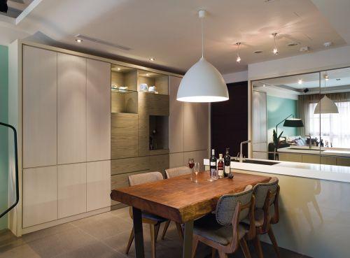 气质优雅现代风格开放式餐厅装修图片