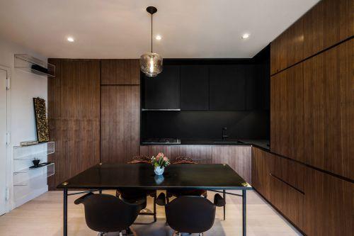 黑色复式公寓现代曲线餐厅装修设计