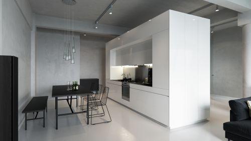 现代简约黑白纯色餐厅装修效果图