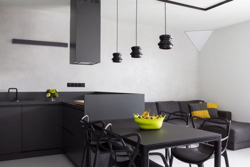 现代风格黑色极简流线餐厅装修效果图