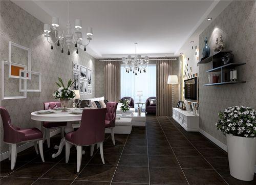 现代简约风格客餐厅灰色花纹壁纸装修图片