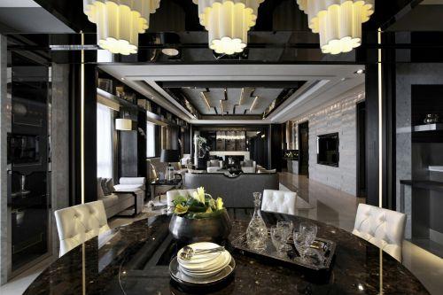 奢华大气黑色现代风格餐厅灯具装修设计