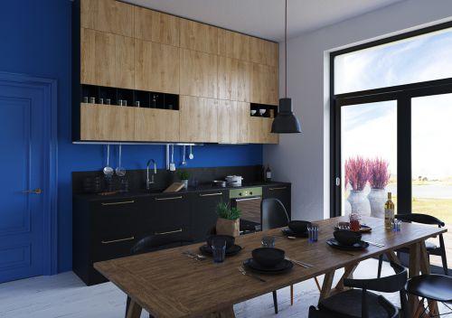 现代风格黑色木艺餐厅装修效果图