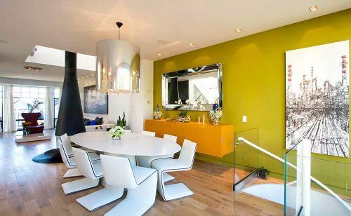 现代简约风格个性吊灯跃层餐厅装修效果图