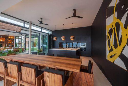 雅致现代风格原木色餐厅装修实景图