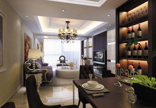 现代风格四居室餐厅黑色酒柜装修效果图