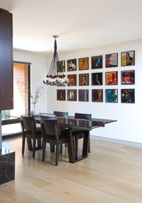 现代风格优雅艺术感餐厅照片墙设计图