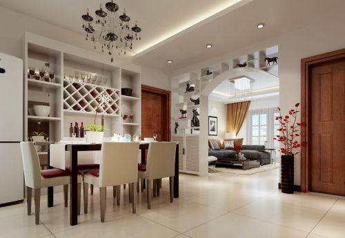 现代简约风格餐厅白色博古架装修效果图