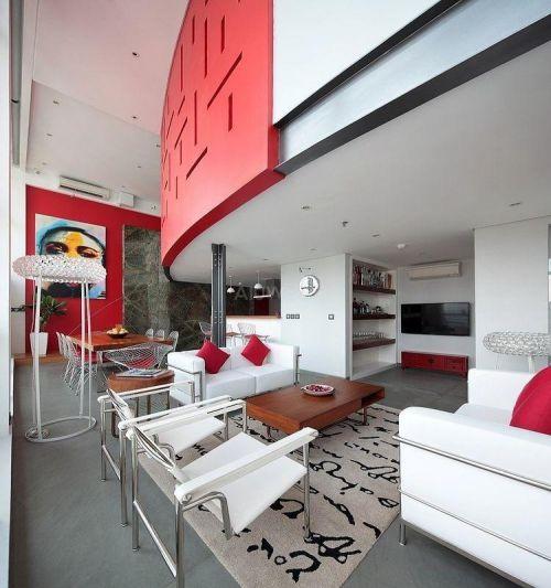 红白艺术空间整体效果图