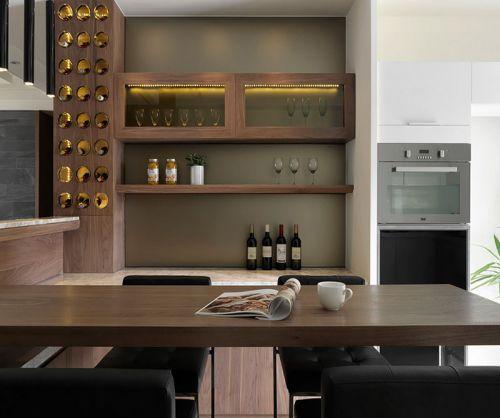 极简现代风格原木色餐厅装修效果图