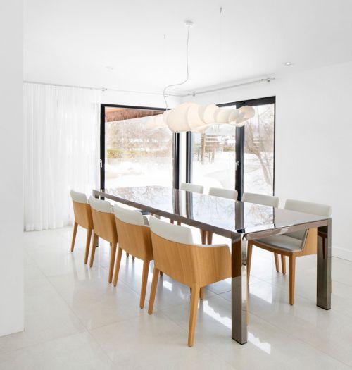 现代白色小复式装修餐厅设计图