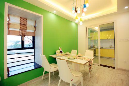 清新时尚现代风格餐厅绿色背景墙装修图