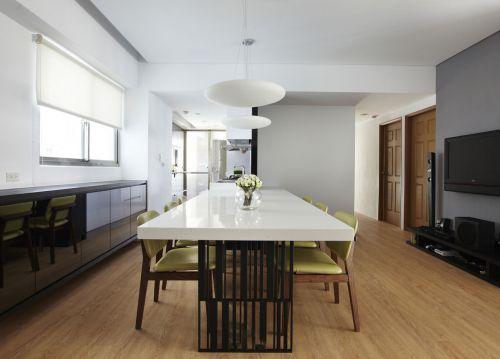 简洁白色时尚现代风格餐厅设计效果图