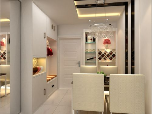 现代风格120平三居室餐厅白色酒柜效果图
