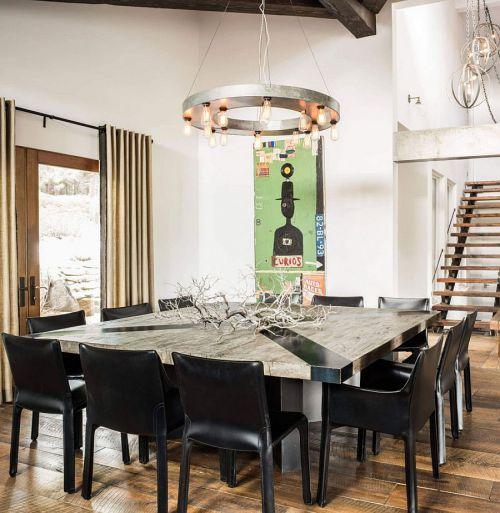 现代朴质别墅黑色餐厅装修效果图