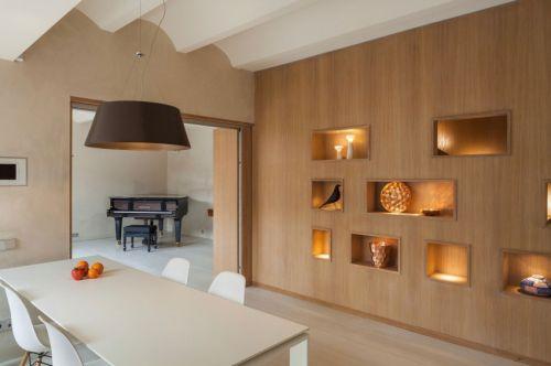 现代风格时尚餐厅创意原木背景墙效果图