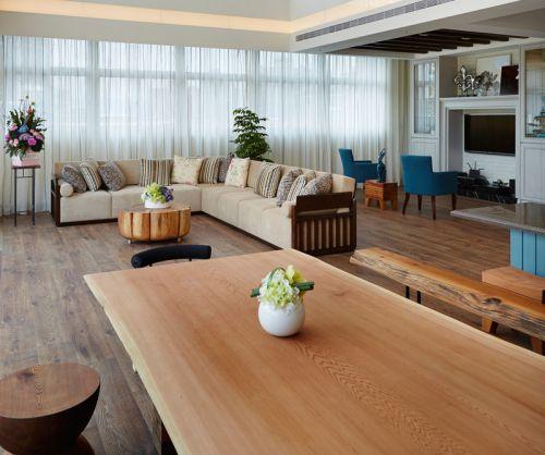 180平休闲恬静别墅一楼餐厅看向客厅装修效果图