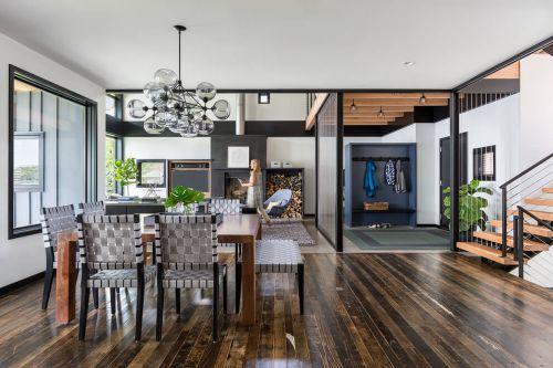 现代别墅黑色餐厅开放式格调装修