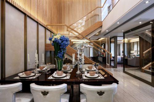 黑色调现代中式风格花园洋房餐厅装修