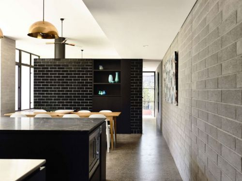 黑色现代风个性餐厅墙砖装修效果图